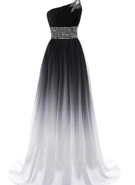 Simple One Shoulder Chiffon Gradient Prom Dresses with Beading, A-line Party Dress