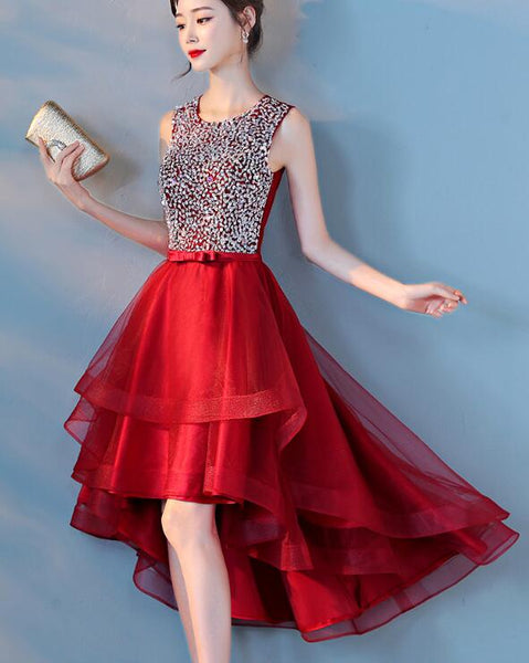 Dark Red Sequins High Low Homecoming Dress 2019, Red Short Prom Dress