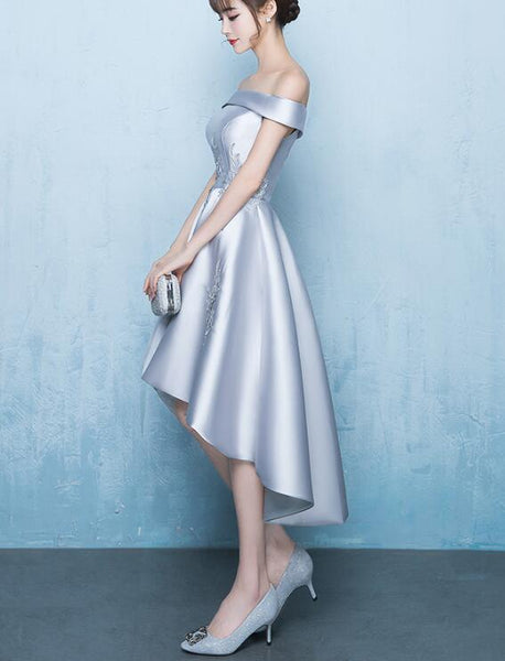 Beautiful Light Grey Satin High Low Party Dress, Off Shoulder New Prom Dress