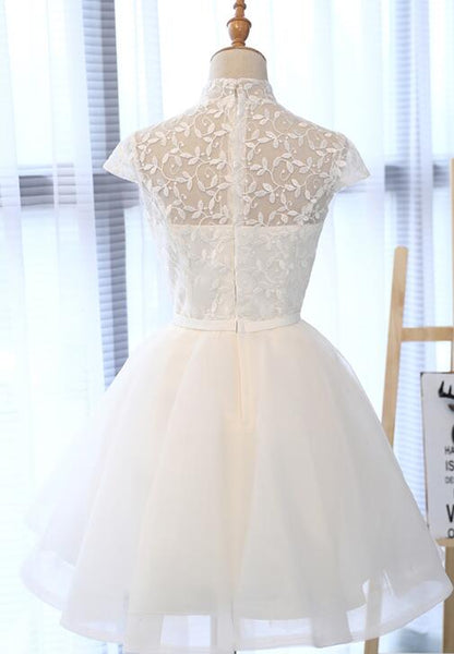 Lovely Simple White Lace Knee Length New Party Dress, Gradaution Party Dress