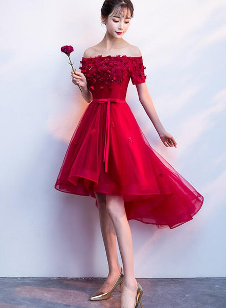 red high low party dress