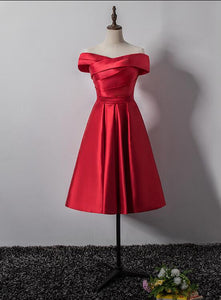 Red Satin Off Shoulder Knee Length Party Dress, Charming Formal Dress