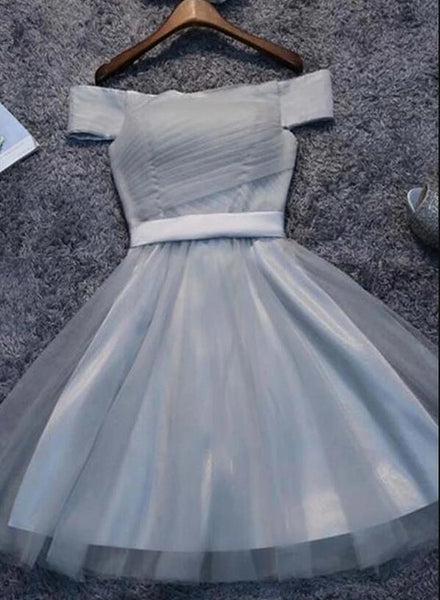 Cute Off Shoulder Grey Tulle Homecoming Dress, Short Party Dress 2019