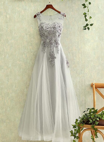 grey tulle long prom dress