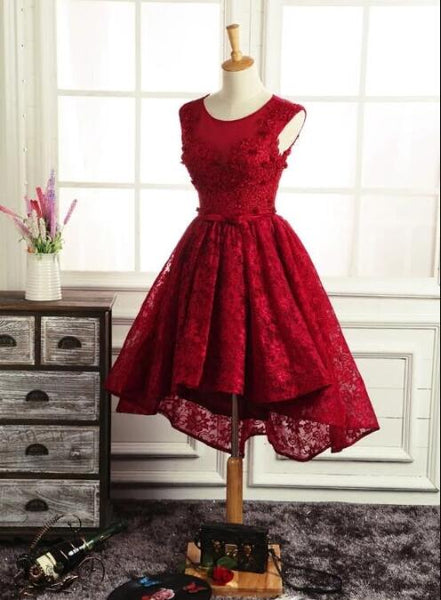 Lovely Lace Round Neckline High Low Homecoming Dress, Red High Low Party Dress