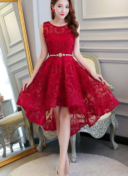 dark red lace high low homecoming dress