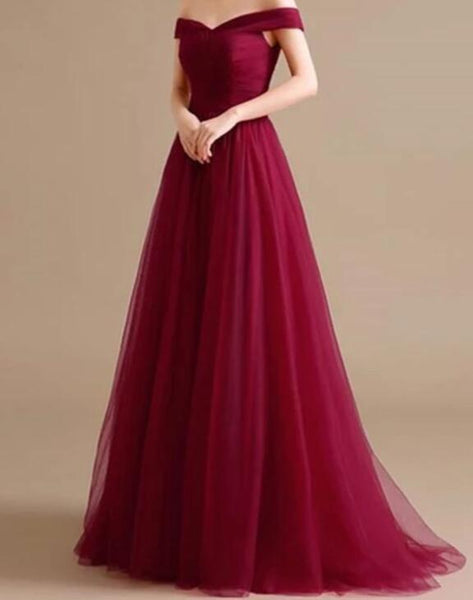 Beautiful A-line Long Formal Dress, Charming Off Shoulder Prom Dress