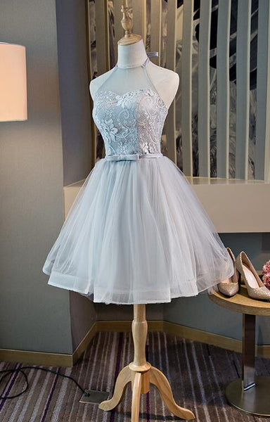 Lovely Grey Short Party Dress, Halter Tulle and Lace Teen Formal Dress