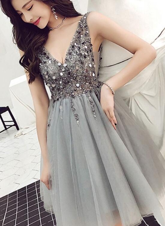 Cute Grey Beaded Tulle V-neckline Short Party Dress, Grey Homecoming Dress