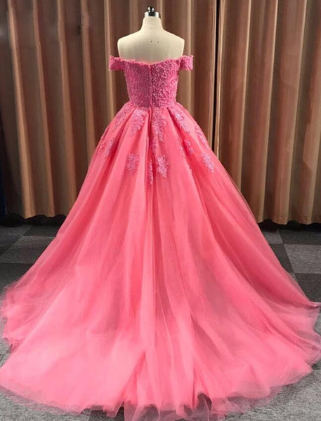 Charming Tulle Ball Gown Off Shoulder Lace Appliques Prom Dress, Sweet 16 Gown
