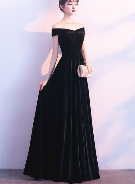 Beautiful Black Velvet Off the Shoulder Party Dress. Charming Bridesmaid Dress