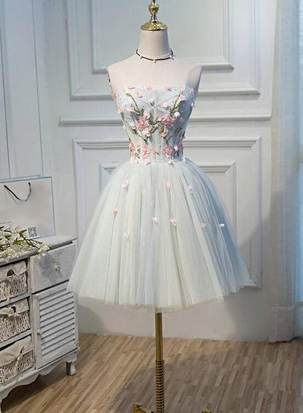 Lovely Sweetheart Homecoming Dress,  A-line Strapless Short Prom Dress Party Dress