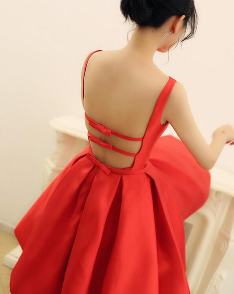 Beautiful Red Backless Satin Party Dress, Cute Short Prom Dress