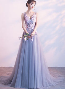 Beautiful Grey Long Tulle Party Dress with Flowers, A-line Evening Gown