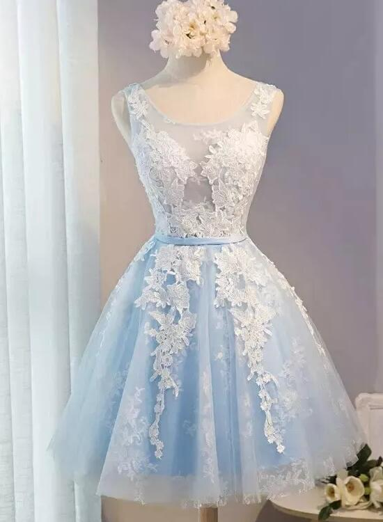Lovely Knee Length Homecoming Dress, Lace and Tulle Fashionable Party Dress