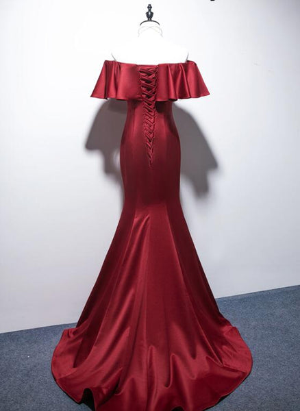 Charming Dark Red Mermaid Evening Gown, Off the Shoulder Long Party Dress