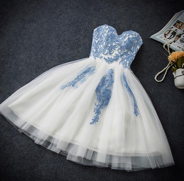 Lovely White Tulle Party Dress with Blue Applique, Homecoming Dress