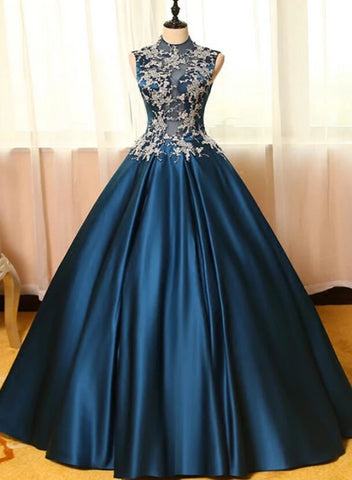 blue satin sweet 16 dresses