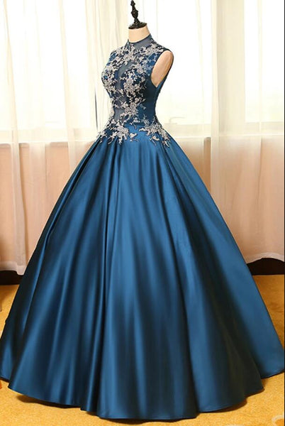 Blue Satins Round Neckline A-line Long Party Gown, Blue Sweet 16 Dress