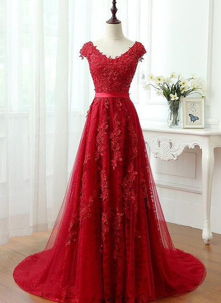 Charming Dark Red Lace A-line Long Prom Dress, Beautiful Red Evening Gown