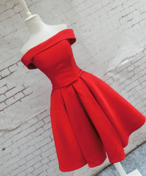 Beautiful Red Satin Short Party Dress, Red Off Shoulder Homecoming Dress