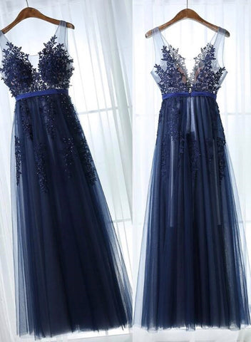 Charming Blue Lace Applique Prom Dress, A-line Blue Bridesmaid Dress