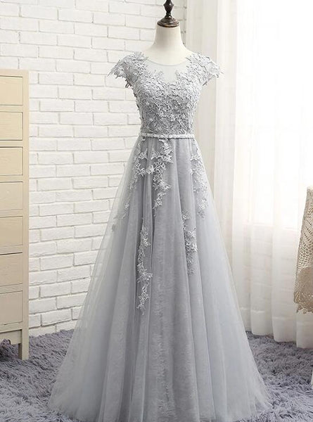 grey party dress long