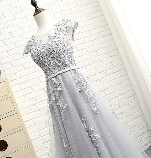 Light Grey Tulle with Lace Applique Bridesmaid Dress, Long Prom Dress