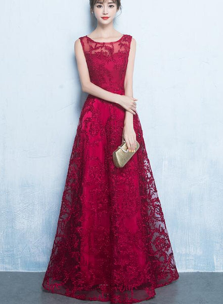 wine red long lace party dress