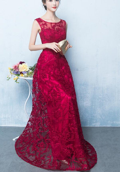 Dark Red Round Neckline A-line Lace Party Dress, Elegant Evening Gown