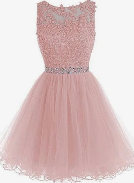 Lace Short Pink Prom Dresses, Pink Homecoming Dresses, Short Pink Formal Dresses