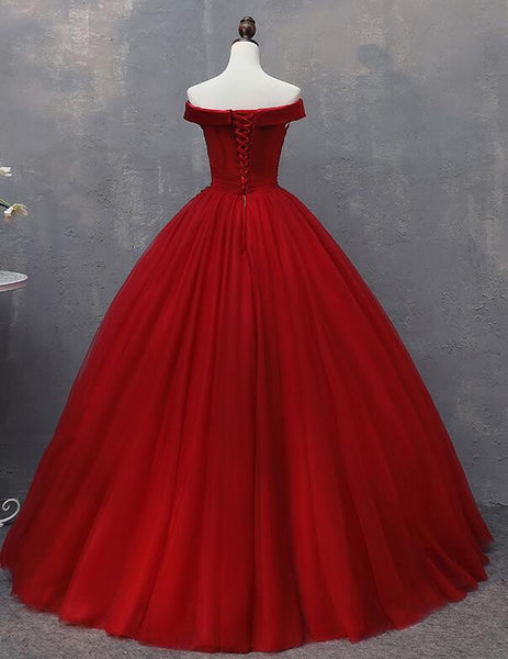 Red Tulle Long Off the Shoulder Sweet 16 Dress, Red Party Gown