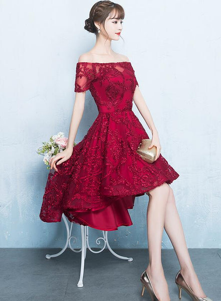 Fashionable High Low Dark Red Lace Party Dress, Homecoming Dresses