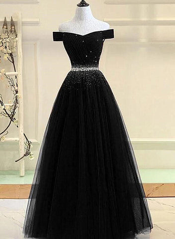 black off the shoulder prom dress