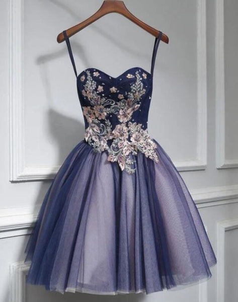 Lovely Purple-Blue Knee Length Flowers Sweetheart Homecoming Dress, Short Prom Dress