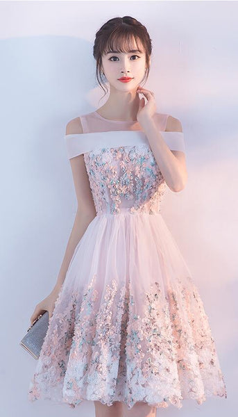 Lovely Light Pink Off the Shoulder Knee Length Party Dress, Lace Pink Homecoming Dress