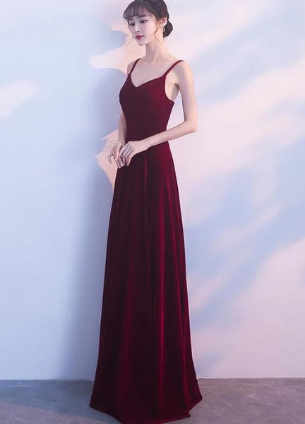 Pretty Dark Red Velvet Straps A-line Party Dress, Long Bridesmaid Dress