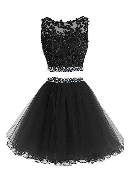 black two piece homecoming dress