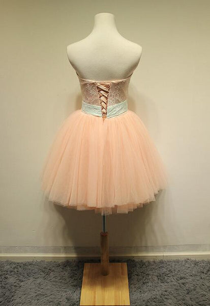 Cute Peark Pink Lace and Tulle Knee Length Party Dress, Pink Homecoming Dress
