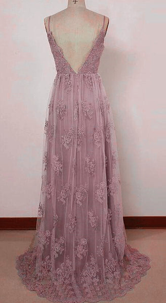 Beautiful Pink Straps Lace Floor Length Party Dress, Pink Backless Prom Dress