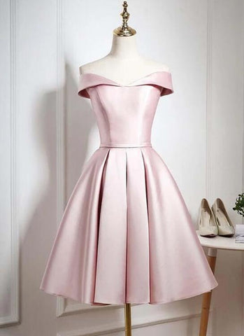 Pink Satin Knee Length Homecoming Dress, Off the Shoulder Homecoming Dress 2020