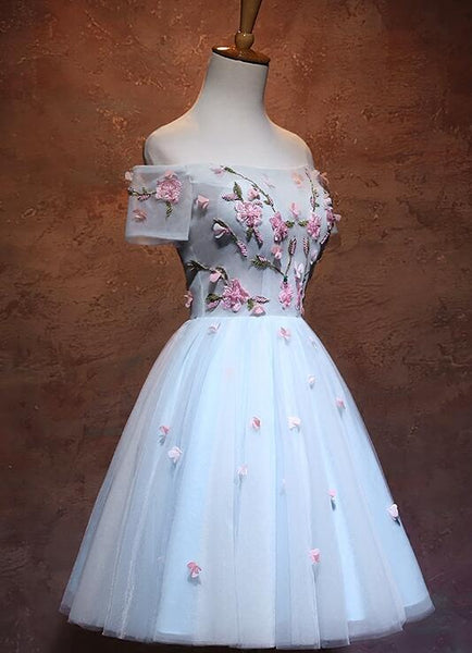Beautiful Light Blue Off the Shoulder Homecoming Dress, Floral Lace Party Dress