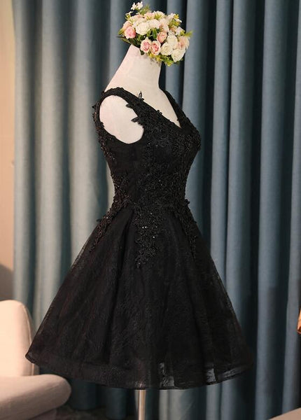 Lovely Black Lace V-neckline Short Homecoming Dress, Black Party Dress