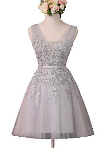 cute grey short tulle party dress