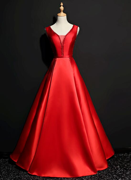 red satin prom dress 2020