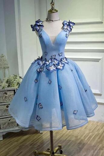 Cute Tulle Sky Blue Homecoming Dresses ,Applique Short Prom Dress 2020