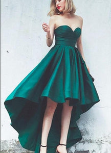 green satin high low dress