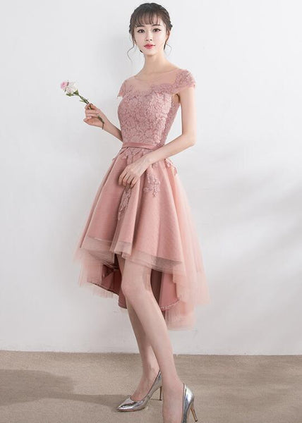 Pink Lace Tulle Cap Sleeves Bridesmaid Dress, Lovely Dark Pink Party Dress