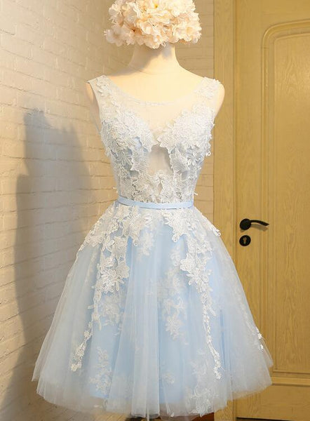 Charming Tulle Short Party Dress with Lace, Knee Length Formal Dress 2020