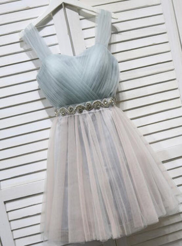 cute grey tulle party dress